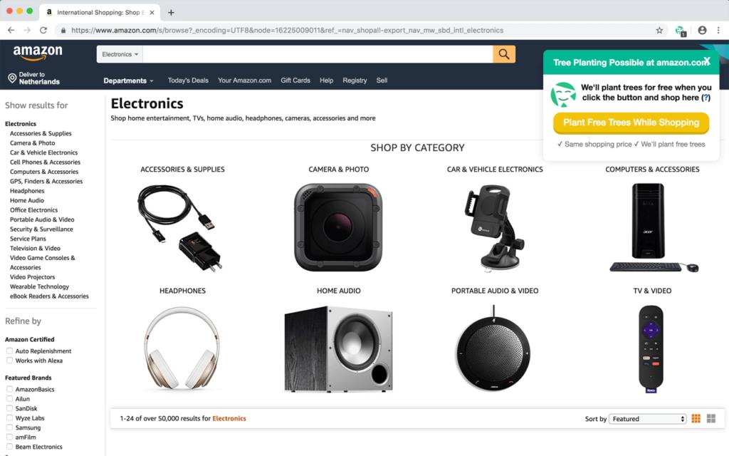 TreeClicks Chrome Screenshot - also works as a Firefox Extension